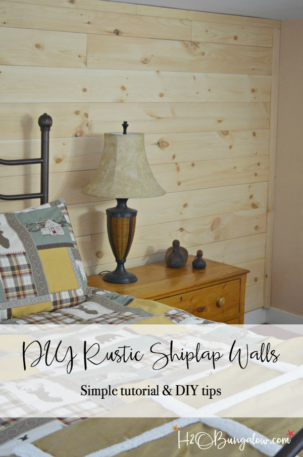 Pros and cons of DIY shiplap vs planked wood walls. Comparison of both types of wood accent walls including detailed DIY tutorial, tips and supply list by H2OBungalow