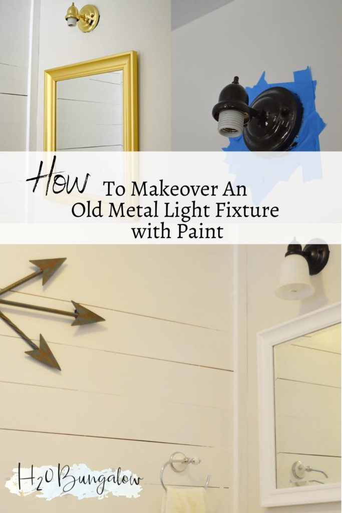 before and after of painted metal light fixture