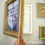 Hanging DIY hidden jewelry organizer that doubles as wall art and fits your decor style. Customizable tutorial for simple or advanced building skills by H2OBungalow