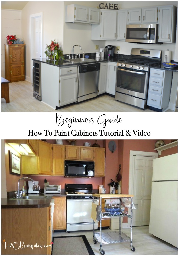 Step by step beginners guide on how to paint kitchen cabinets tutorial with instructional video. Even the most novice painter can get a fabulous DIY kitchen cabinet makeover with a perfect finish and no brush strokes.