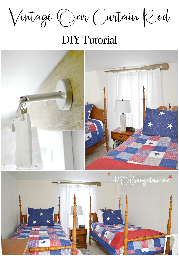 Easy to make DIY vintage oar nautical curtain rod with modern style wire to hold the curtain. See how simple it is to add budget friendly nautical and rustic window decor to a room for instant personality.