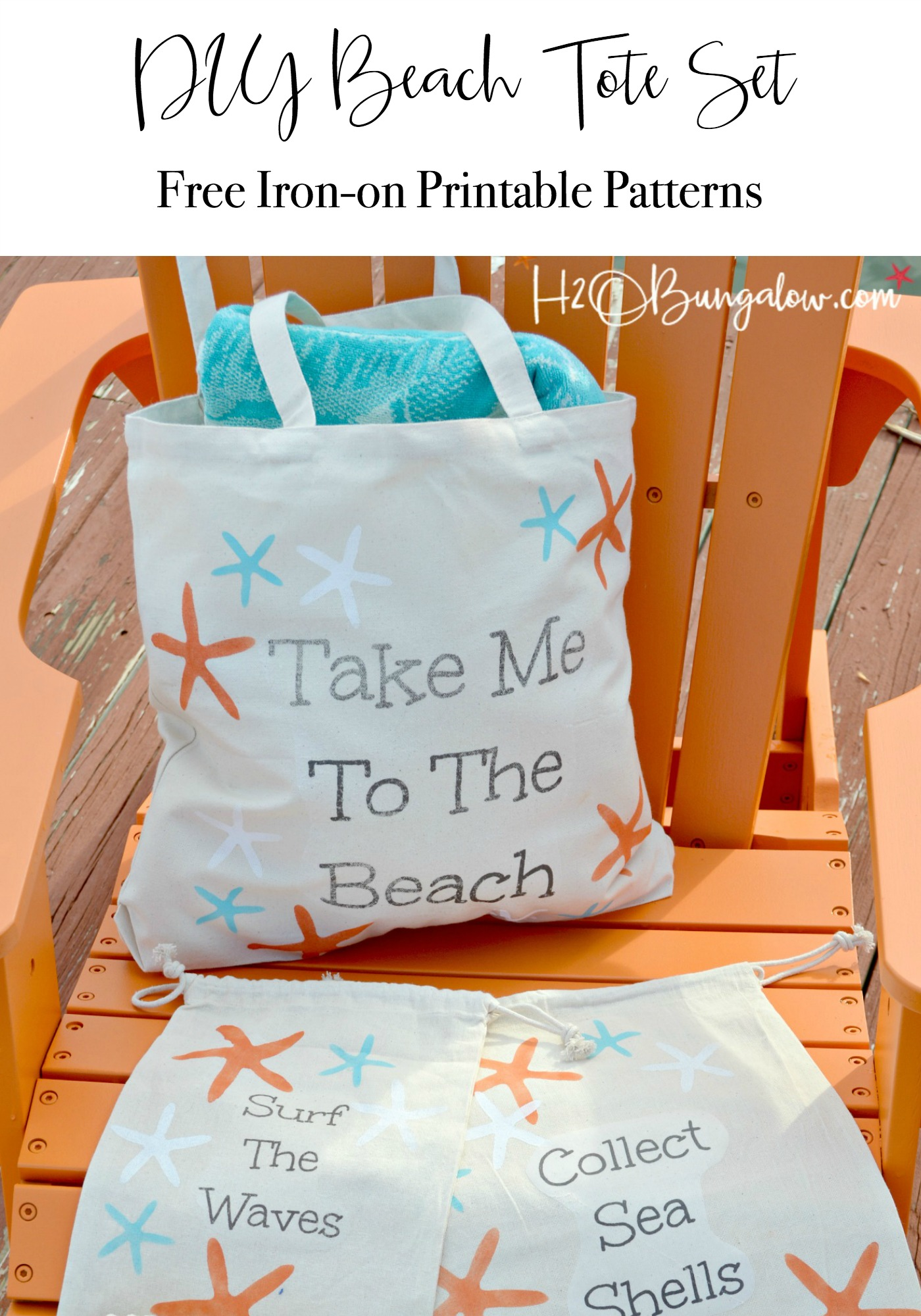image relating to Free Printable Beach Stencils referred to as Stenciled Do-it-yourself Canvas Starfish Seashore Baggage - H2OBungalow