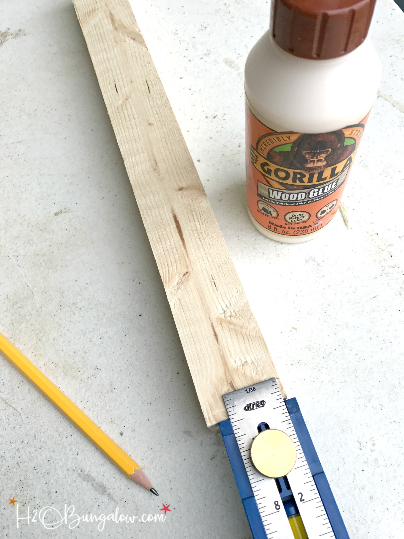 gorilla wood glue shown with pencil and measuring tape