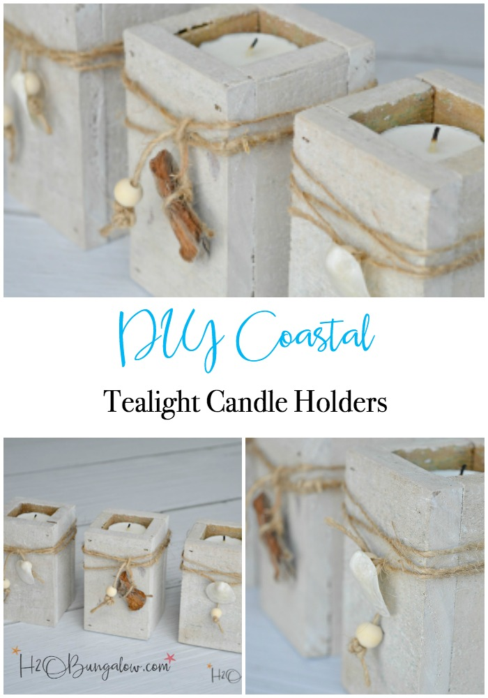 Easy and inexpensive to make DIY coastal tealight candle holders. Add jute twine, seashells and a few wood beads or driftwood as a finishing touch. Find over 450 DIY home decor and home improvement projects at H2OBungalow.com