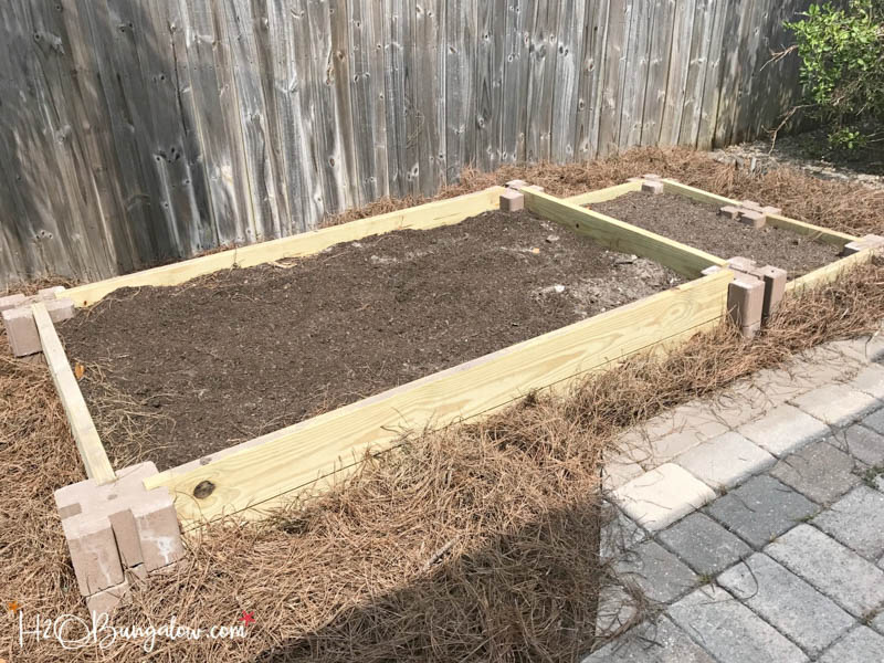 mulch around the outside edges of the raised garden bed
