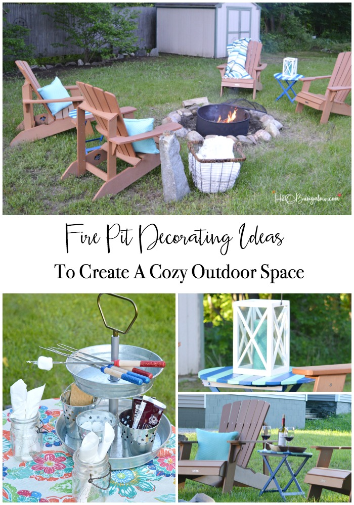 Create a cozy outdoor space with these 6 must have fire pit decorating ideas. Tips on how to decorate your backyard with color to seating to accessories. Find over 450 DIY home decor and home improvement tutorials on H2OBungalow.com