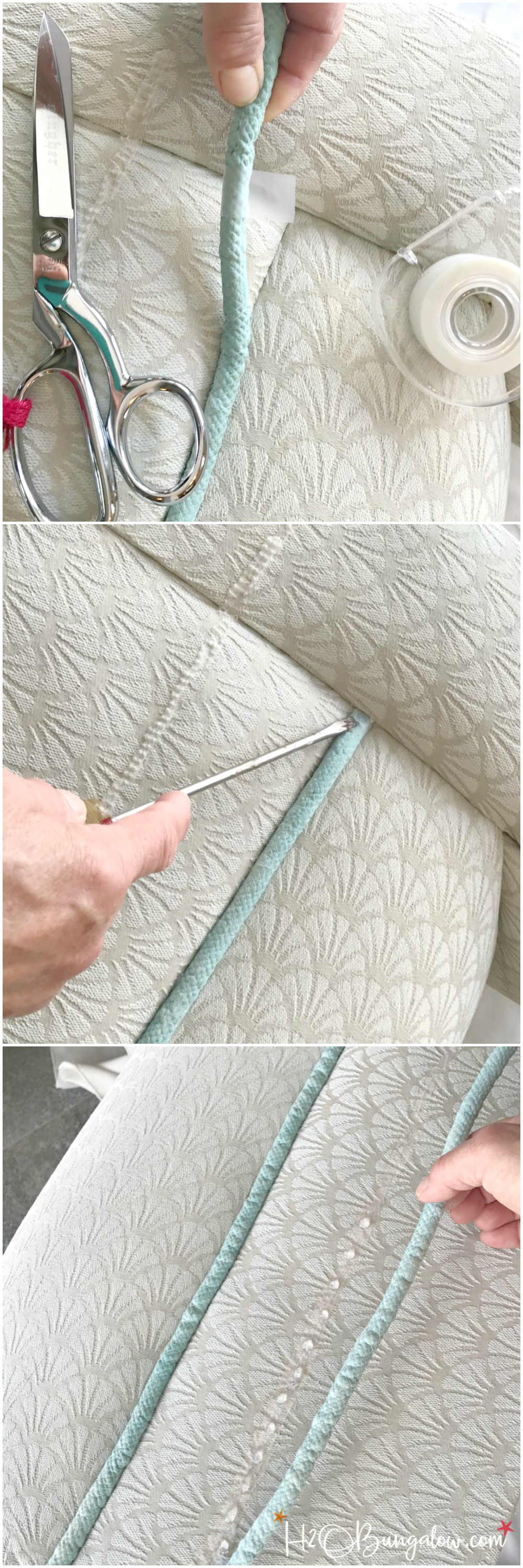 DIY painted upholstered chair makeover tutorial. How to paint a fabric chair with latex paint, add new trim and change the furniture legs for an easy update. Find over 450 home decor DIY tutorials on H2OBungalow.com