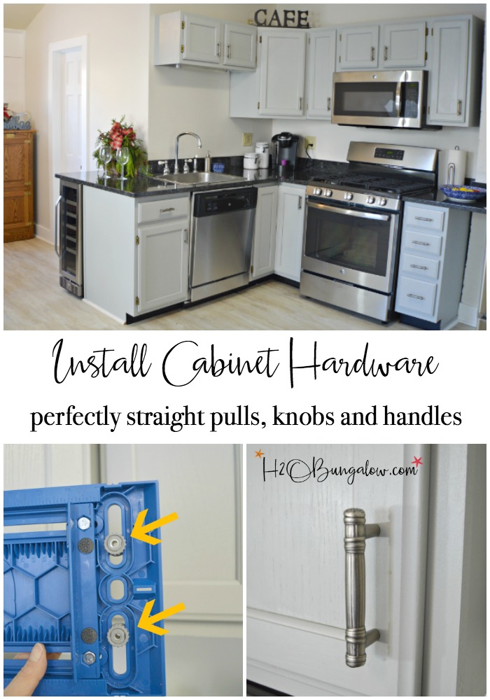 How to to install knobs and pulls on cabinets and furniture like a pro with a simple inexpensive tool that lines up everything perfectly for you. All you'll need is a drill. Find over 450 projects and ideas to make your home pretty on H2OBungalow.com