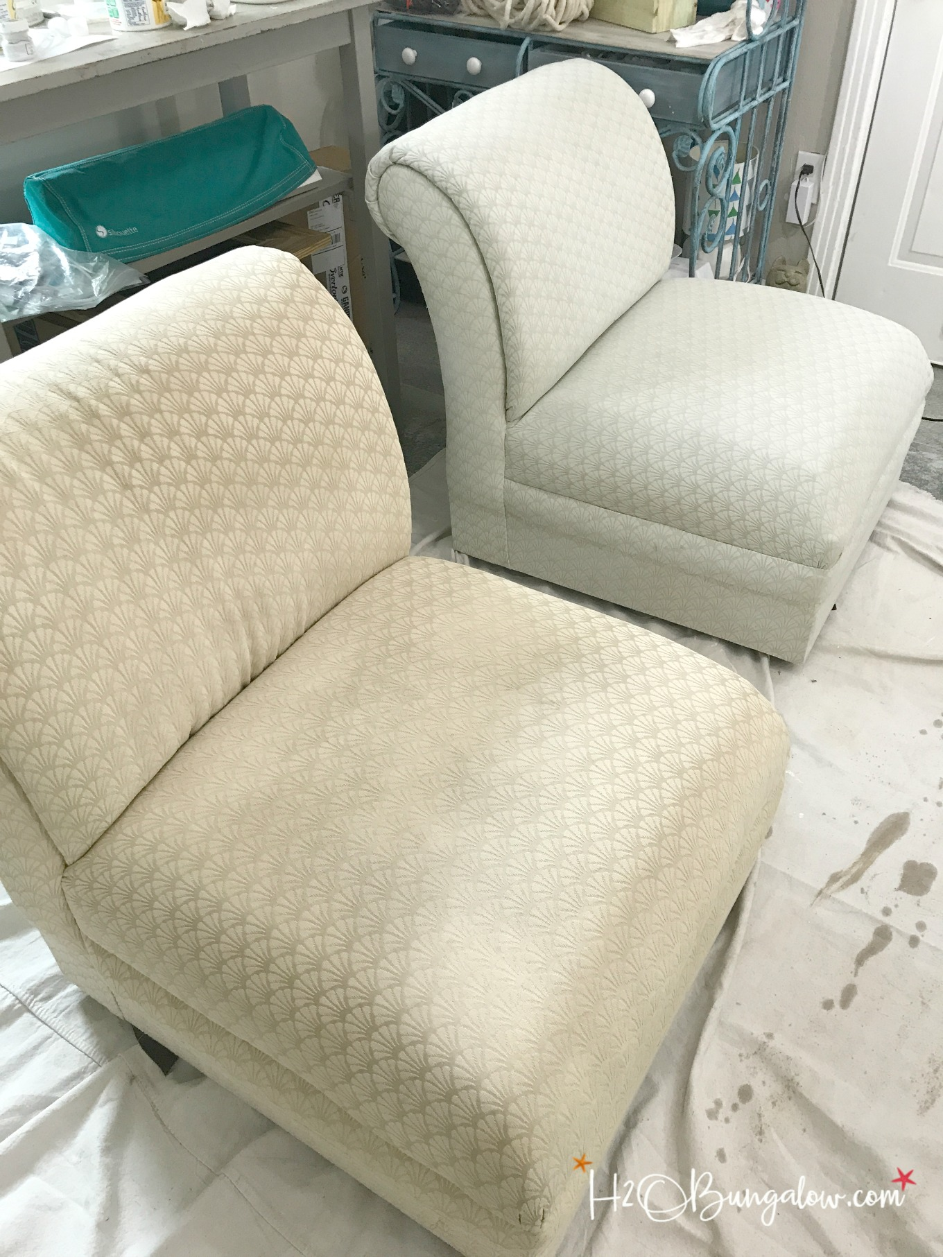 The chair on the right has one coat of paint on it. I only needed one coat of paint on my fabric chairs. & Painted Upholstered Chair Makeover Tutorial - H20Bungalow