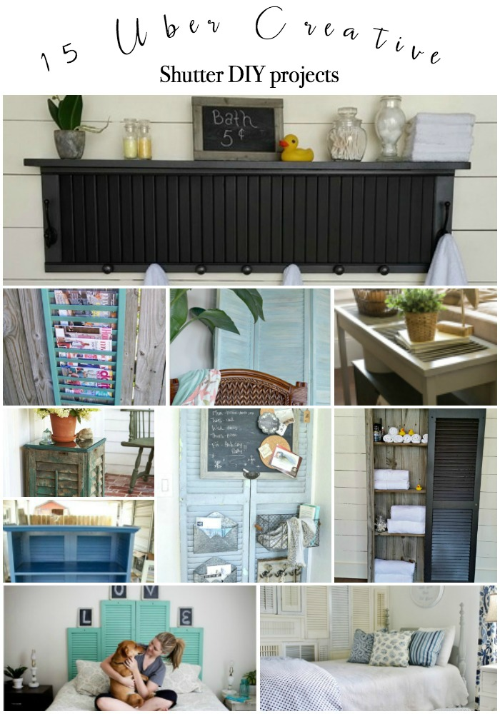 Fifteen favorite creative DIY shutter projects made from repurposed old wood shutters. Packed with useful ideas for old window shutters for home decor.