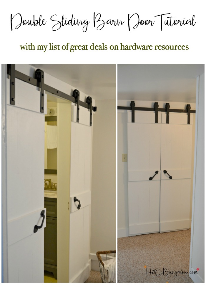 Easy DIY double barn door tutorial for interior sliding barn doors with a budget friendly resource for all sizes of barn door hardware. Make these in a day and update your home. Great for small spaces and bathrooms.