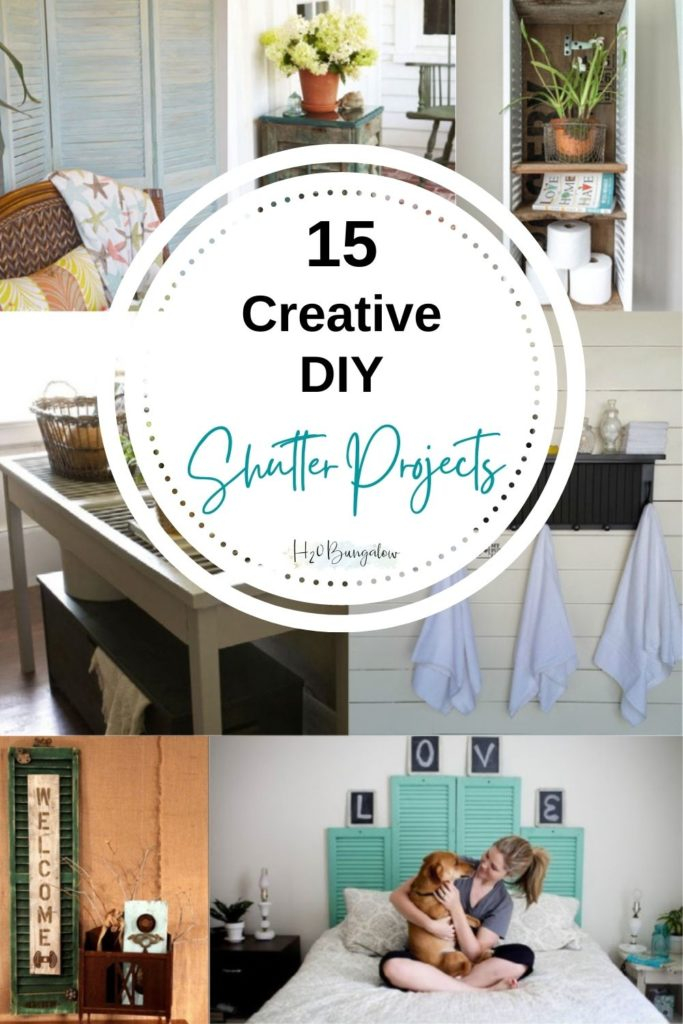 Collage of creative DIY shutter projects