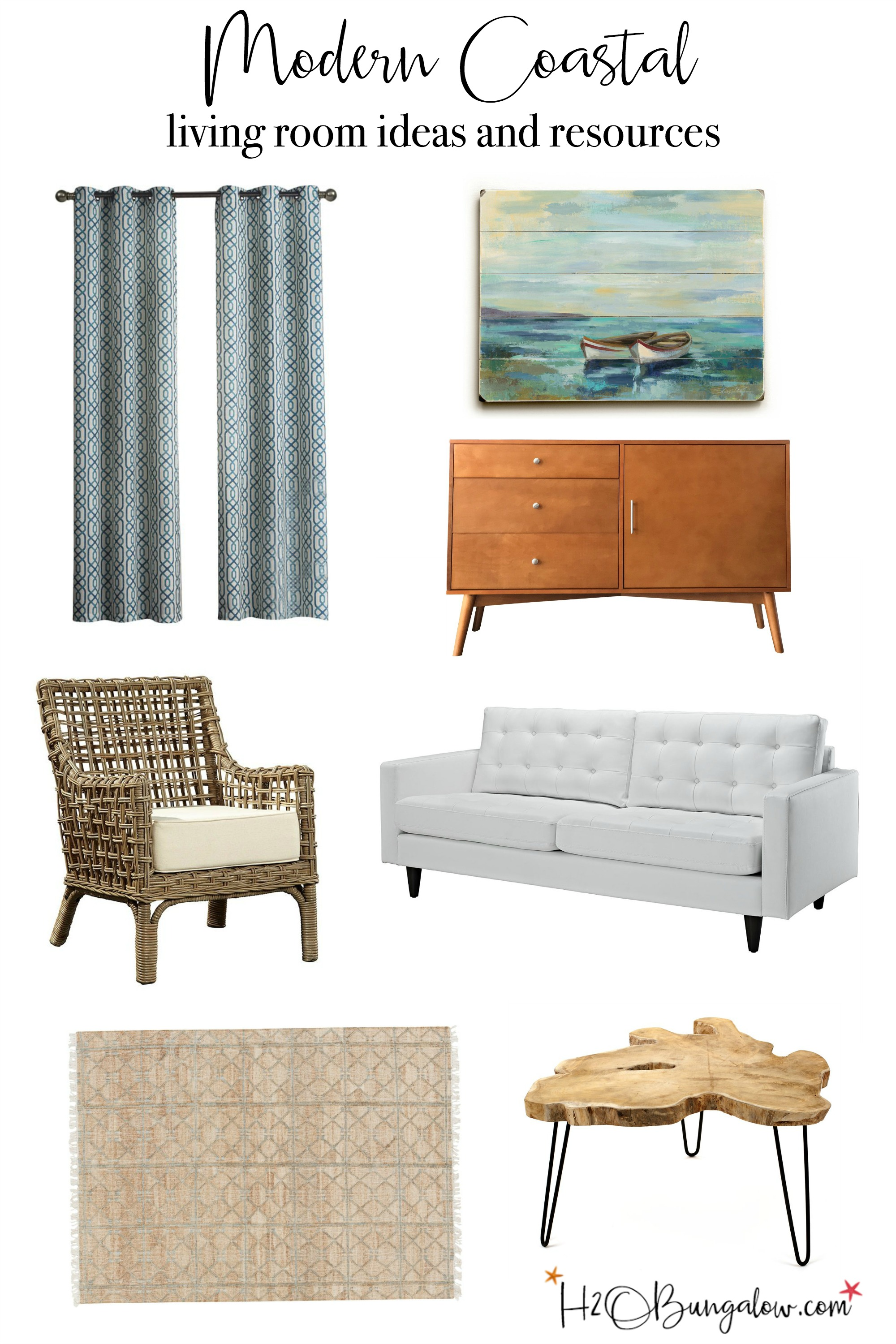 Contemporary coastal living room makeover ideas with a mood board and resources. Decorate with coastal home decor in a casual modern design style.