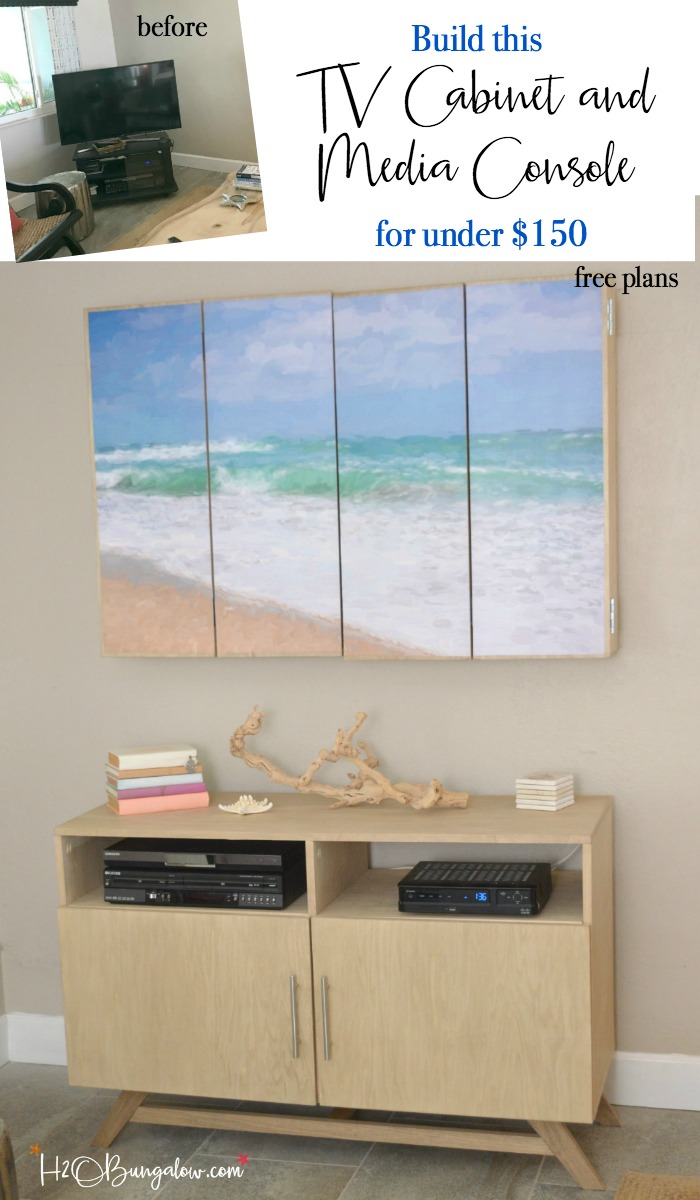 DIY media console with free plans tutorial. Build a media cabinet to hold electronics, add the matching wall mounted TV cabinet for under $150! Looks great in small spaces! Find over 450 DIY tutorials to make your home pretty at H2OBungalow.com #DIYmediaconsole