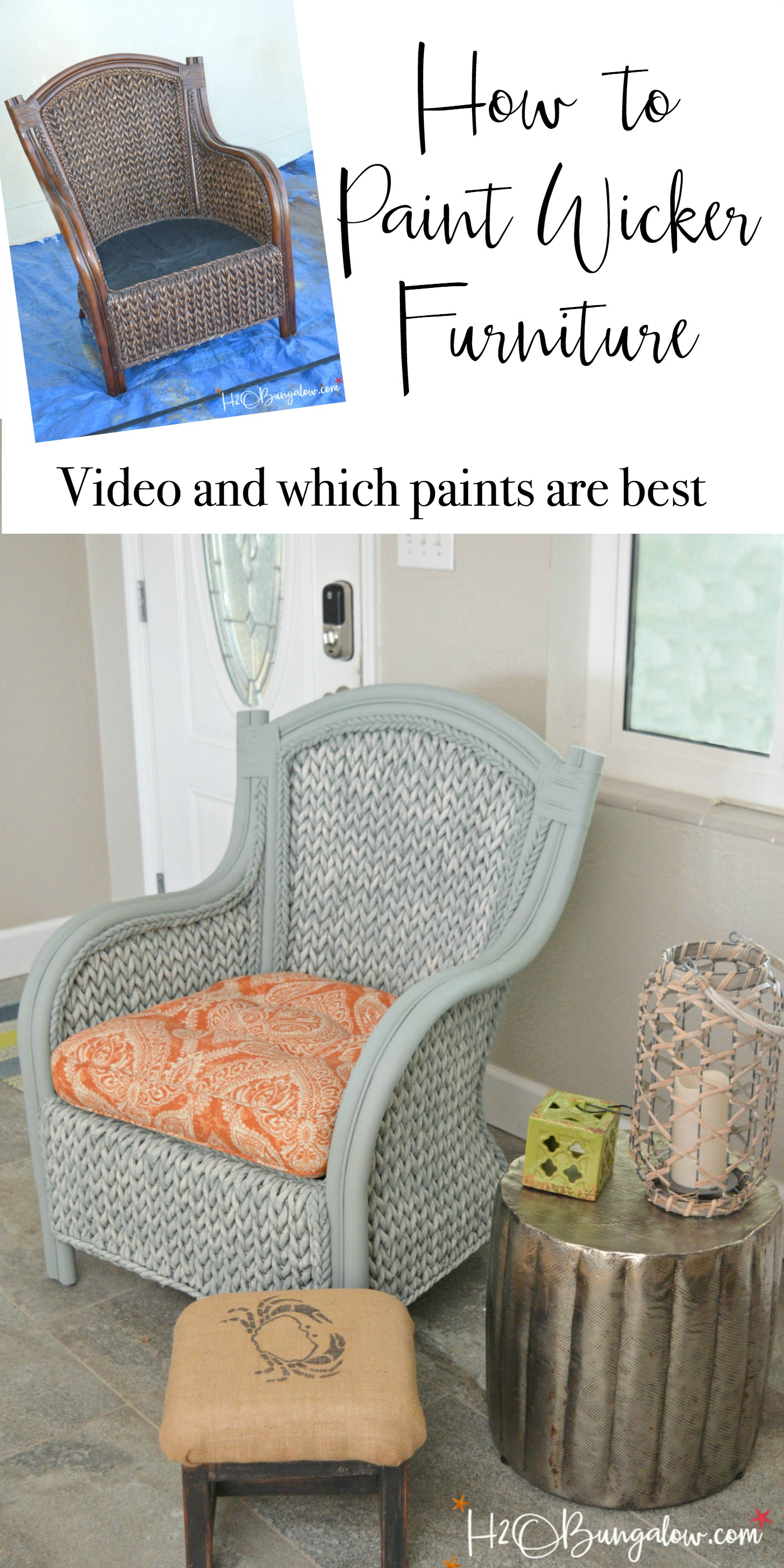 How to paint wicker furniture with a paint sprayer. Tutorial and video shows how to paint a wicker chair with what paints to use on wicker for best results. Find over 450 DIY tutorials on H2OBungalow.com