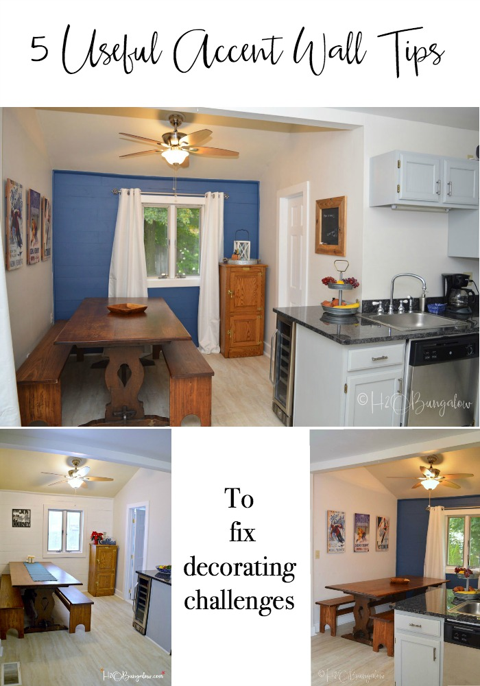 Useful DIY accent wall tips on using color, texture and grouping items to fix decorating challenges and make a room look put together. Feature walls can be paint, wood, stencil or out of collected items. Find over 450 home improvement and decorating tips t H2OBungalow.com