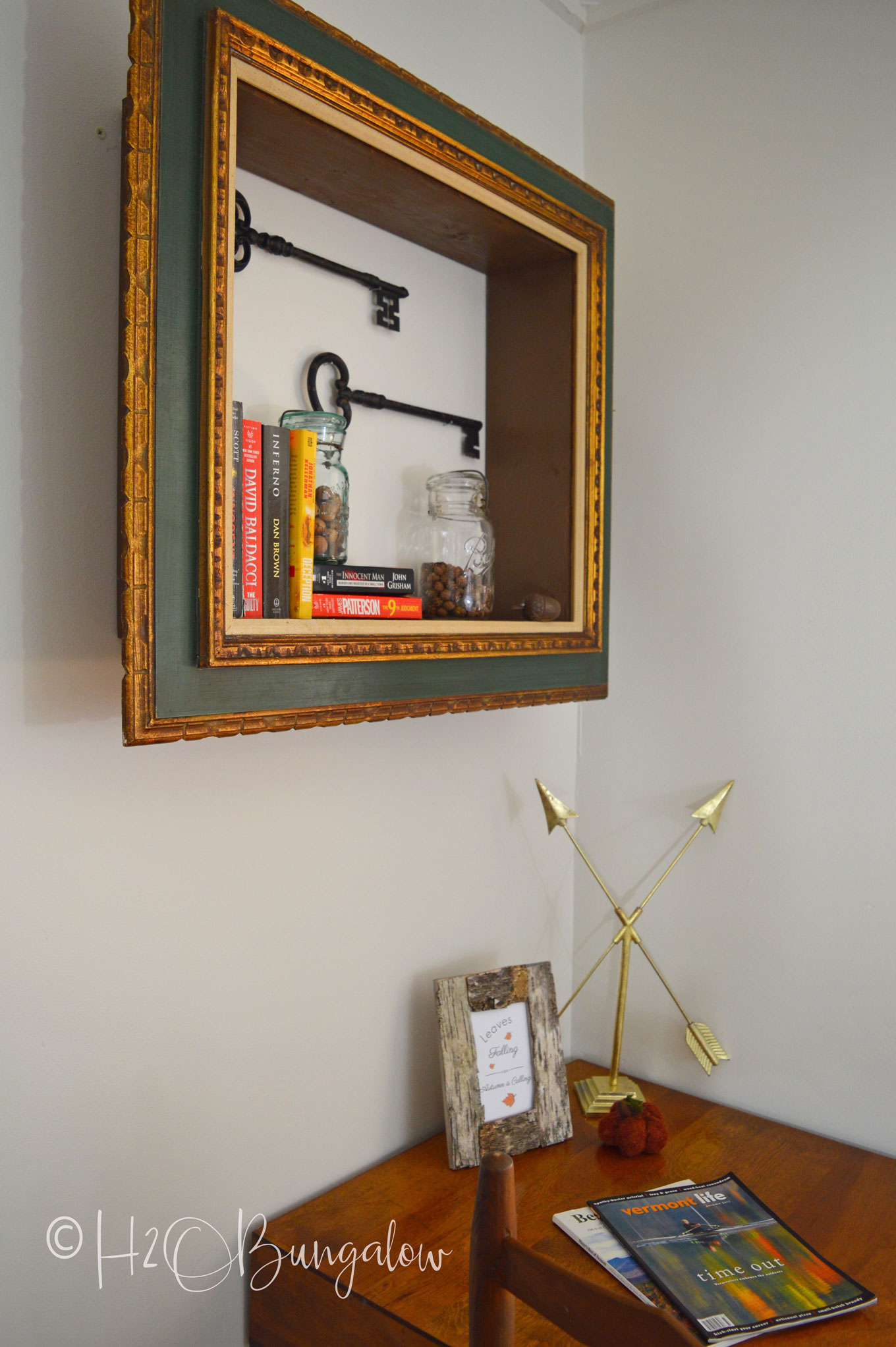 Diy Repurposed Picture Frame Wall Shelves H2obungalow