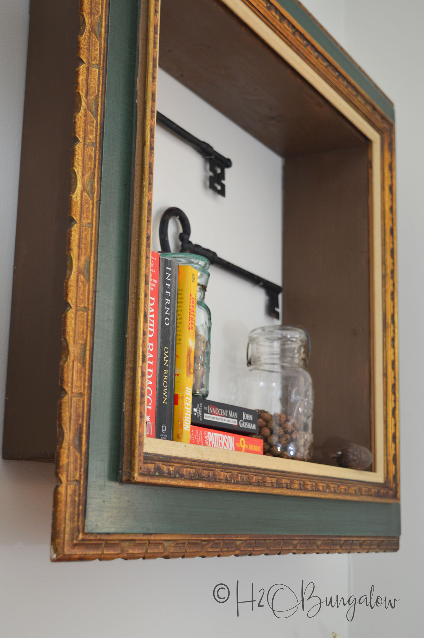 DIY Repurposed Picture Frame Wall Shelves - H20Bungalow