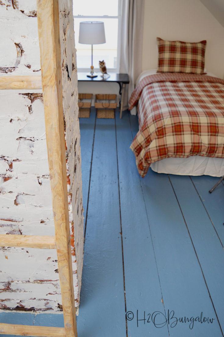 blue painted wood floor