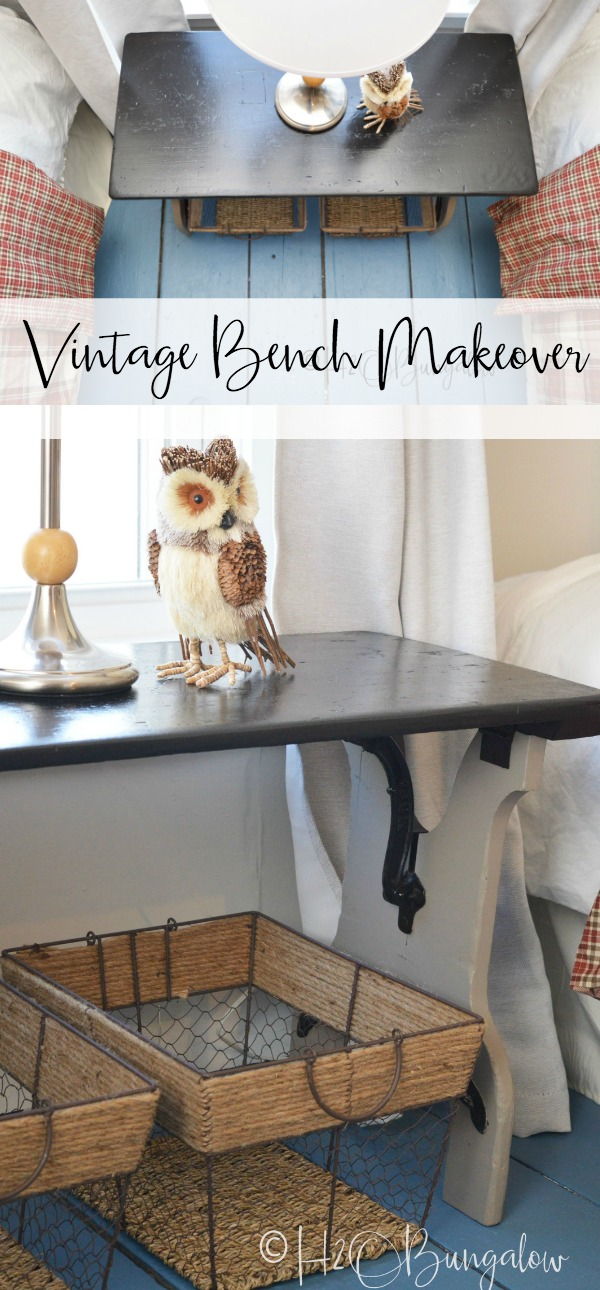 Vintage folding bench makeover turned a wood and metal hardware bench into a stylish bedside table. Furniture painting makeover tutorial.