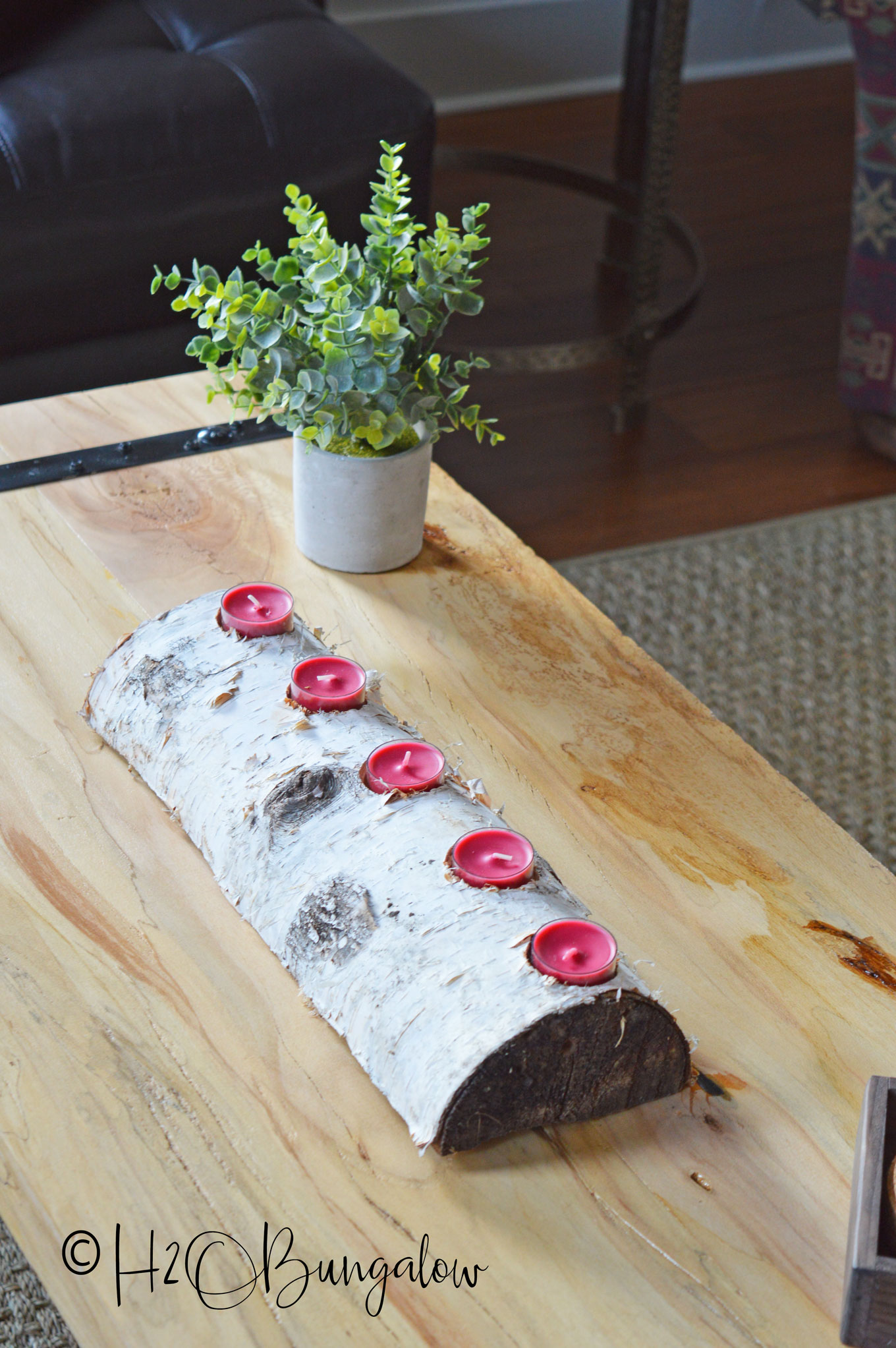 Tutorial and tips to make a DIY log candle holder from a split log. Rough bark logs or birch log candleholders look great year round in a rustic setting.