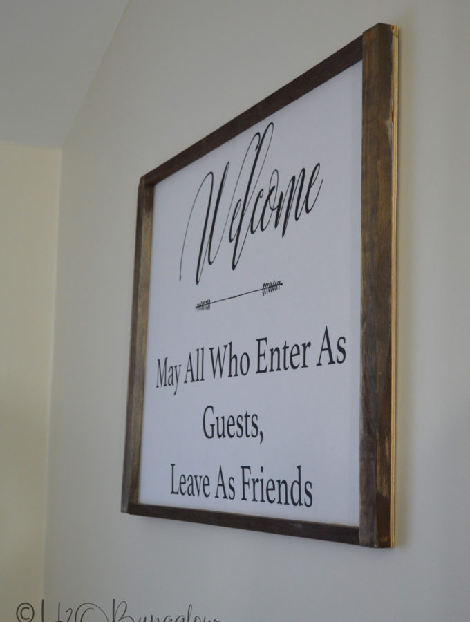 Tutorial for a DIY engineer print large welcome sign. Download my free graphic or follow the instructions and make your own large wood framed welcome sign.