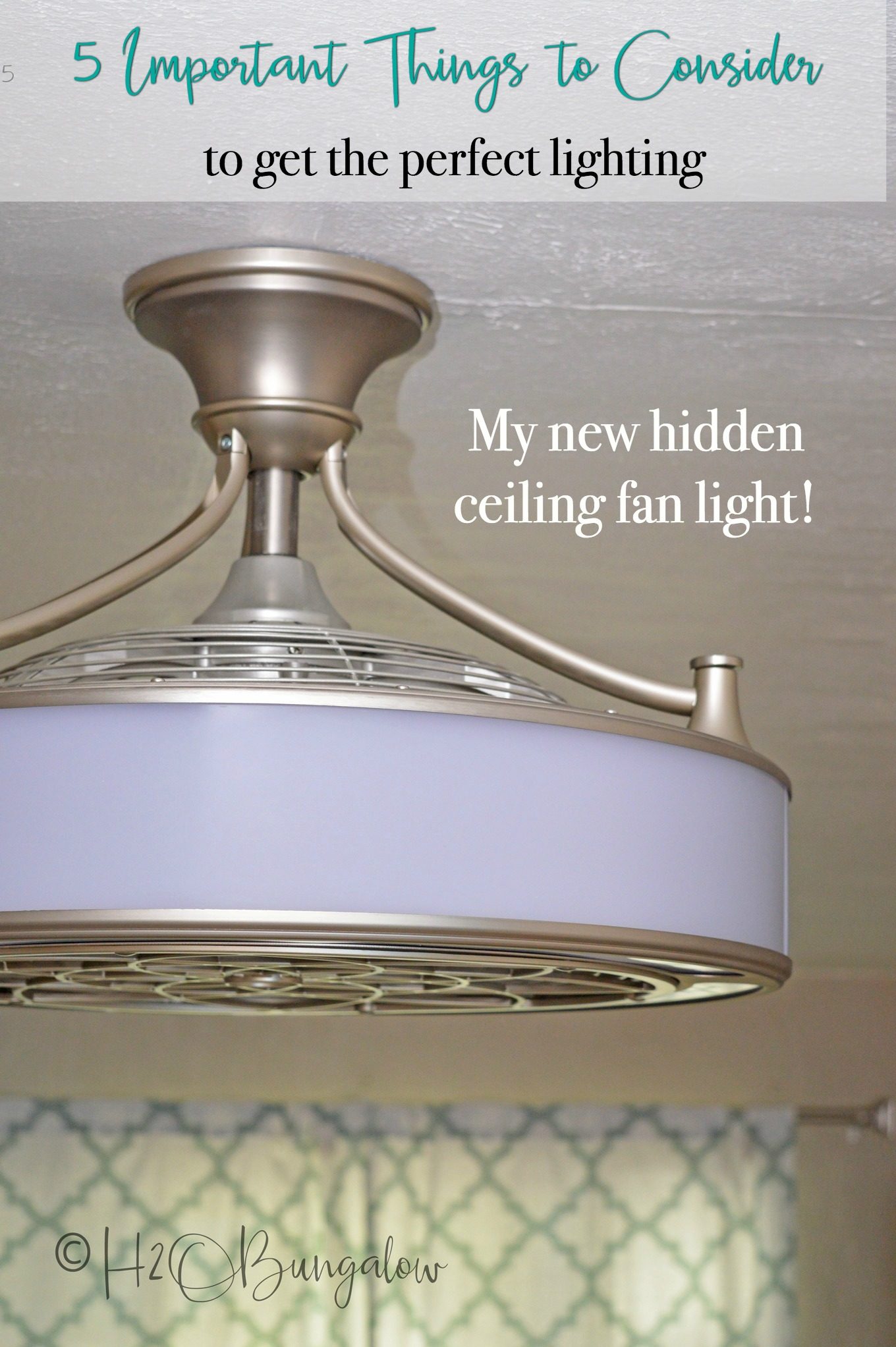 Five important things to consider before buying ceiling lights and fans. My top tips to think about before purchasing lighting and ceiling fans that will help you pick the right lighting and type of ceiling fan for your needs. I just installed a hidden ceiling fan light with 360 degree lighting for my office!
