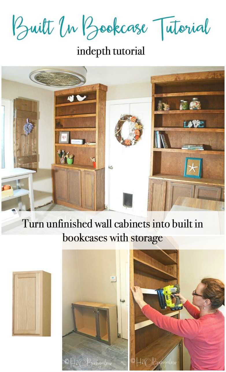 How to build built in bookcases with cabinets is a detailed DIY tutorial with lots of pictures and step by step instructions.  If you want storage and to make custom DIY book cases or want to know how to make built in bookshelves with wall cabinets, this is the tutorial for you. My built ins cost me under $400 to make!