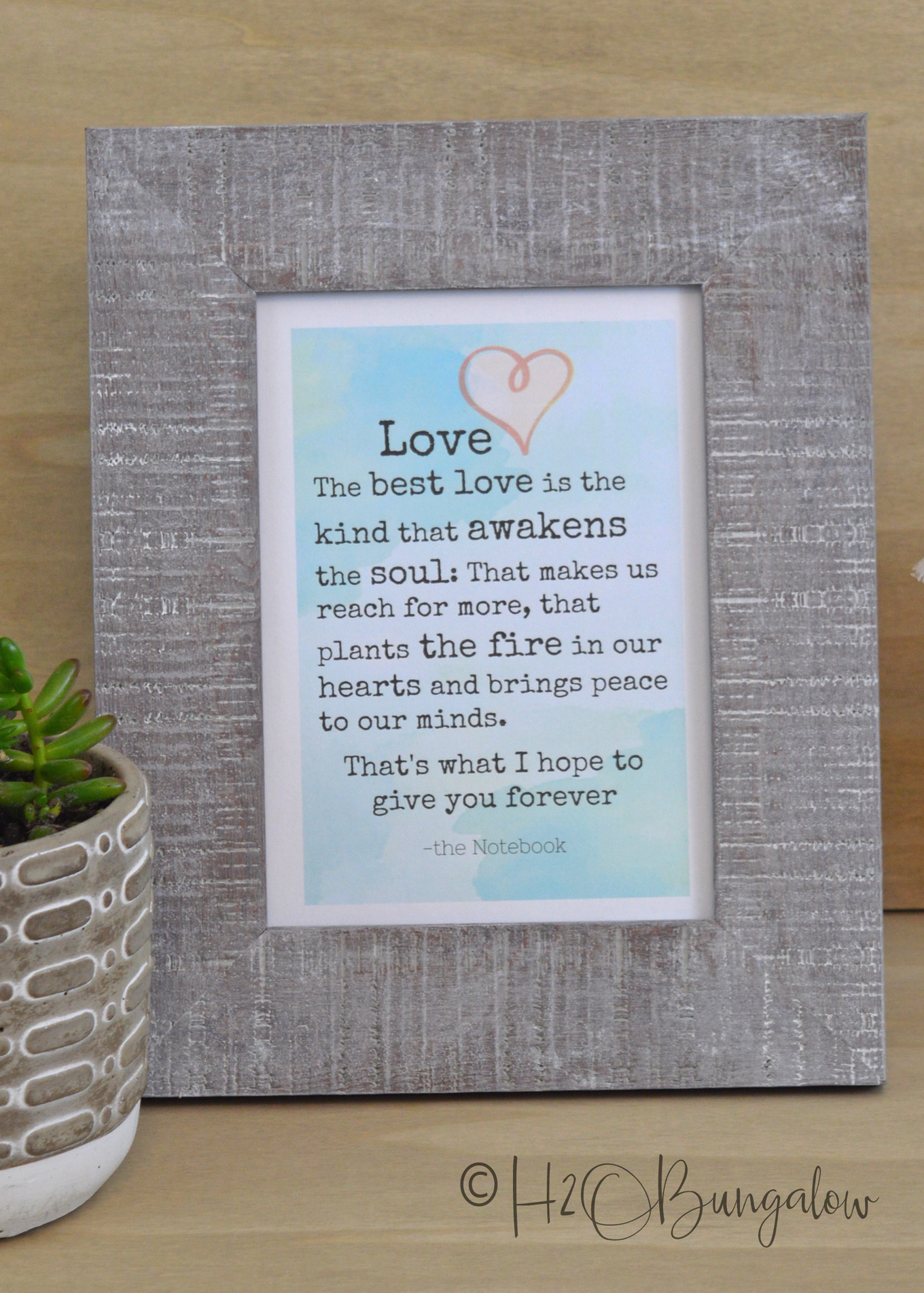 I love the feeling of reading powerful words that pull at my heartstrings. Don't you? I created a beautiful printable from a quote from The Notebook and made a free downloadable graphic. Use this romantic quote printable for a gift, a card or frame it.