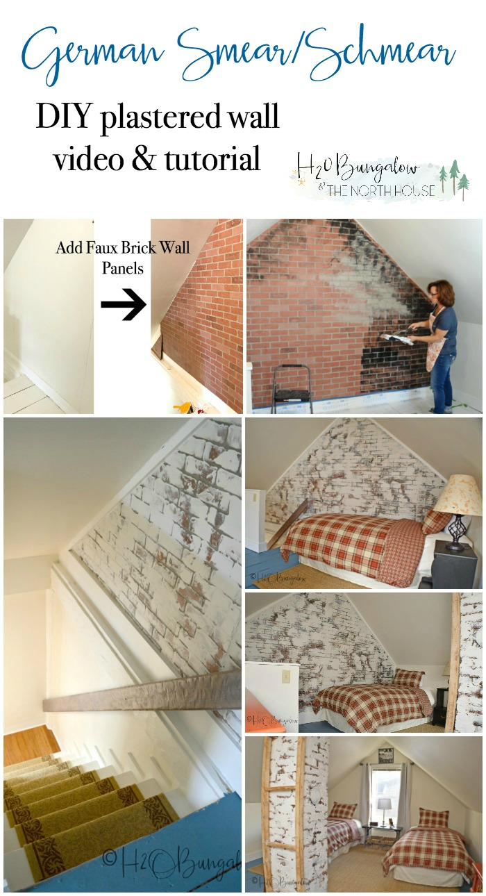 DIY German smear/schmear tutorial and video tutorial. See how to make this trendy design treatment over indoor faux brick or real brick with Beyond Paint. Watch the video for step by step instructions to recreate a fabulous vintage plastered wall in an afternoon.See my supply list and product recommendations for best results.