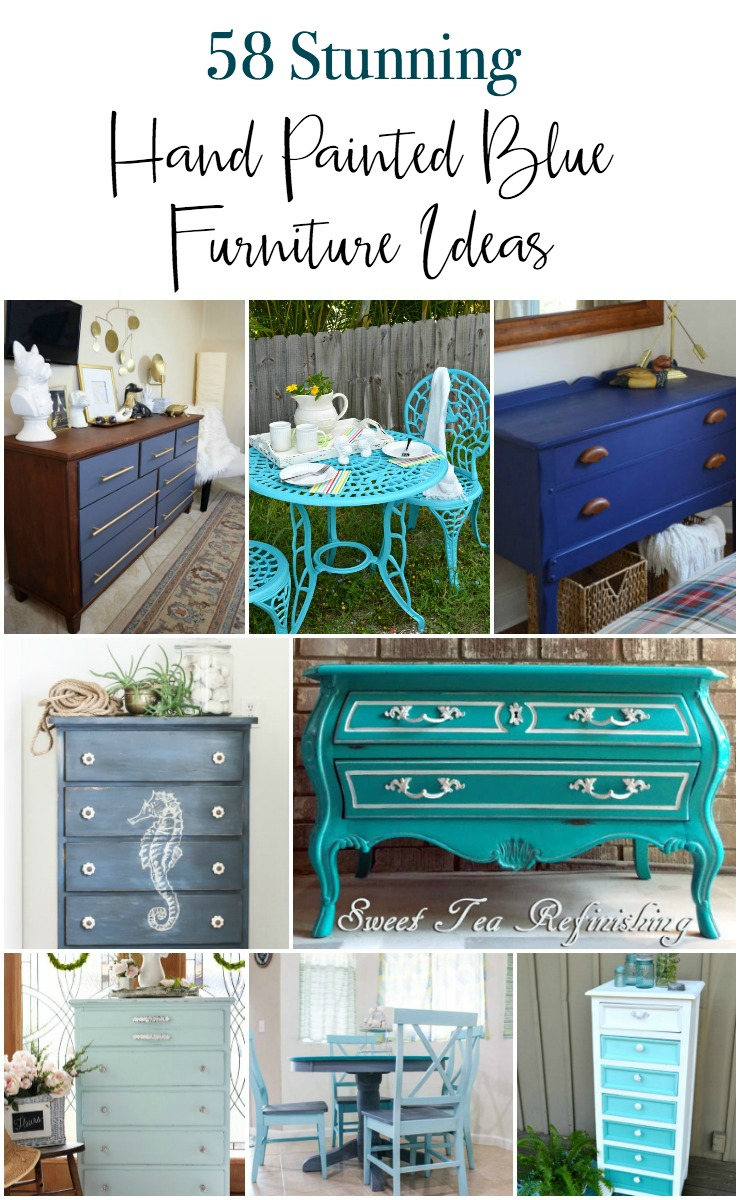 A huge collection of 53 gorgeous DIY painted blue painted furniture ideas. These are all hand painted furniture pieces in many shades and styles of blue. From breezy coastal to clean modern blue you'll find a wide variety of painted dressers, tables, seating, storage and more. #bluepaintedfurniture #bluefurniture via @h2obungalow