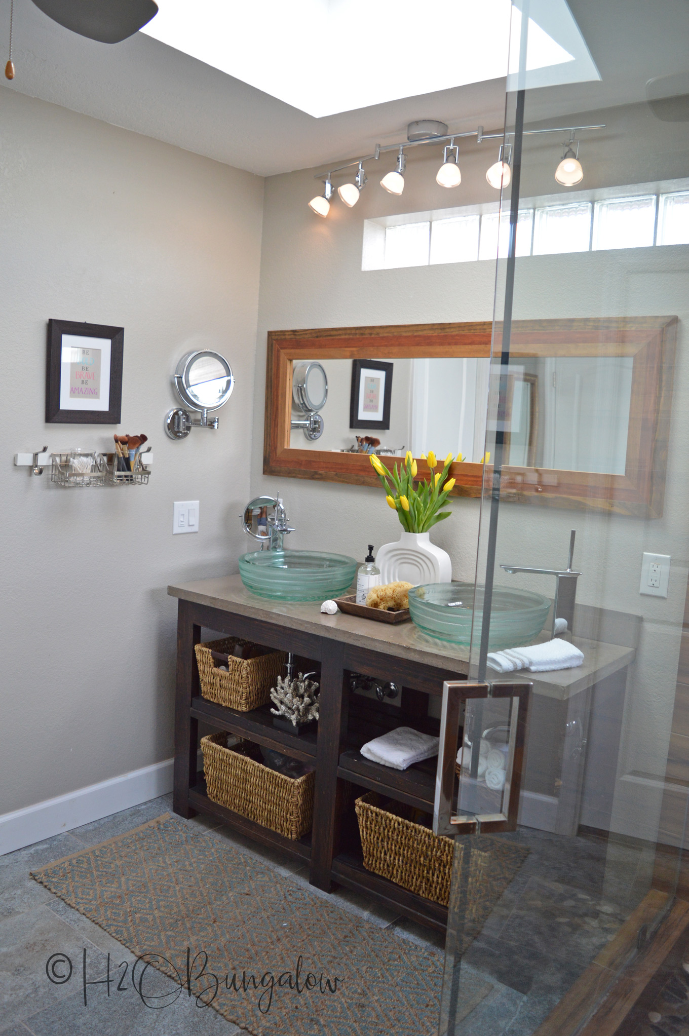 Today I want to share my spring master bath tour and mini makeover. Since we put in new skylights, the master bath was feeling tired. With a few simple changes and a little shopping, my coastal rustic master bath feels fresh and welcoming again. I point out the many awesome DIY projects that make this room special too!