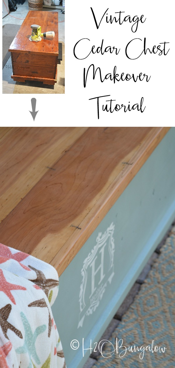 This wasn't just any old cedar chest makeover, it was a family heirloom that had been passed down from generations. What I love about this tutorial is even though I'm sharing how to makeover a chest, you can use these same steps to makeover a dresser, a table or something else in the same style, a natural wood top and painted base.
