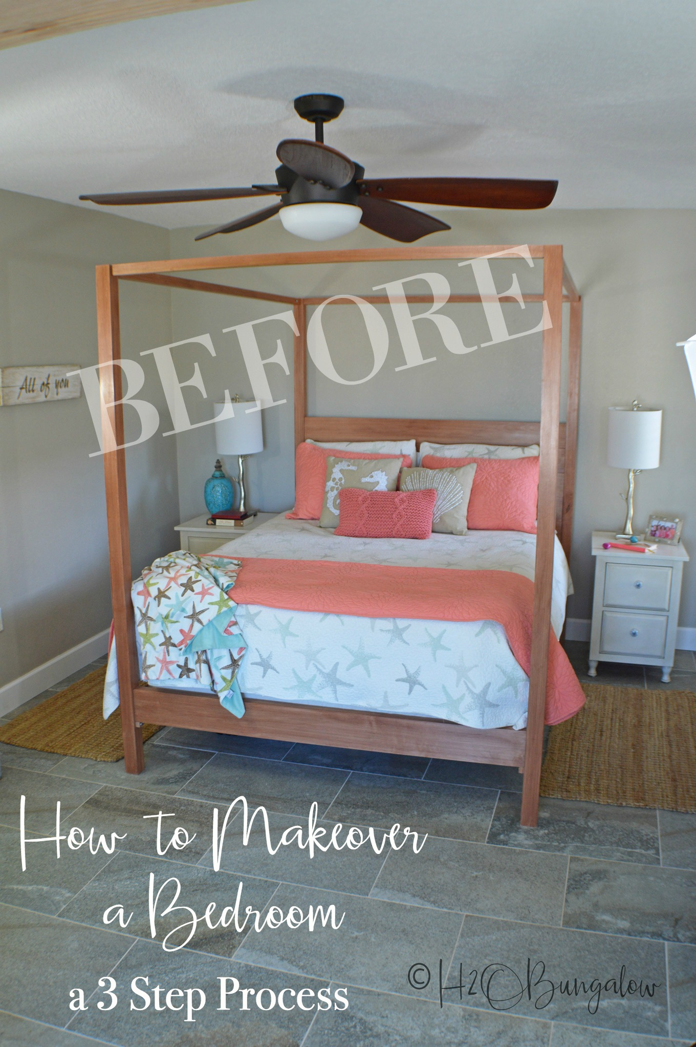 Today, I'm sharing how to makeover a bedroom in three steps. Changing decorating styles can be overwhelming, but when a bedroom makeover is broken into smaller steps it's much easier to achieve the results you want. Use these simple steps and tips on your next bedroom makeover to create the room of your dreams.