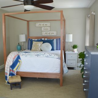 I'm so excited to share my modern coastal bedroom makeover with you guys today!  It's actually more of a redecorating bedroom refresh than a full blown makeover.  But, by changing the color palette,  adding a huge scrumptiously textured area rug and and few creative decor pieces it has the look of a whole new room.  This modern coastal bedroom makeover is fresh and contemporary while being warm and inviting.  Which is everything I'd want in a bedroom retreat.