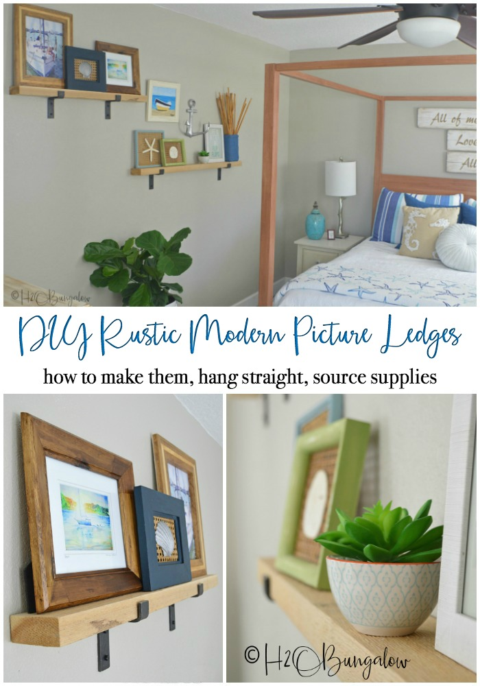 Tutorial on how to make a rustic modern DIY picture ledge and where to find the chunky industrial hardware.  Plus, simple step by step instructions on how to hang level picture ledges. Part 1 of 2, next learn how to create and style a wall vignette with picture ledges.