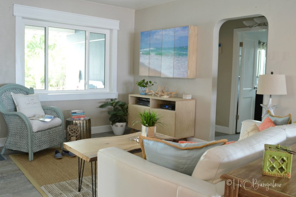 living room coastal home tour