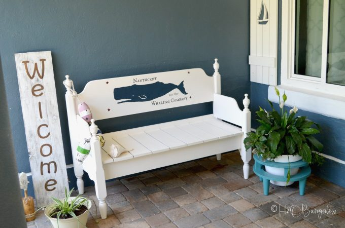 How to paint graphics on furniture video and blog tutorial. Download my whale design or follow my steps to create, enlarge and transfer your design to paint on furniture, a sign or any flat surface. You'll find an awesome list of resources in this post too!