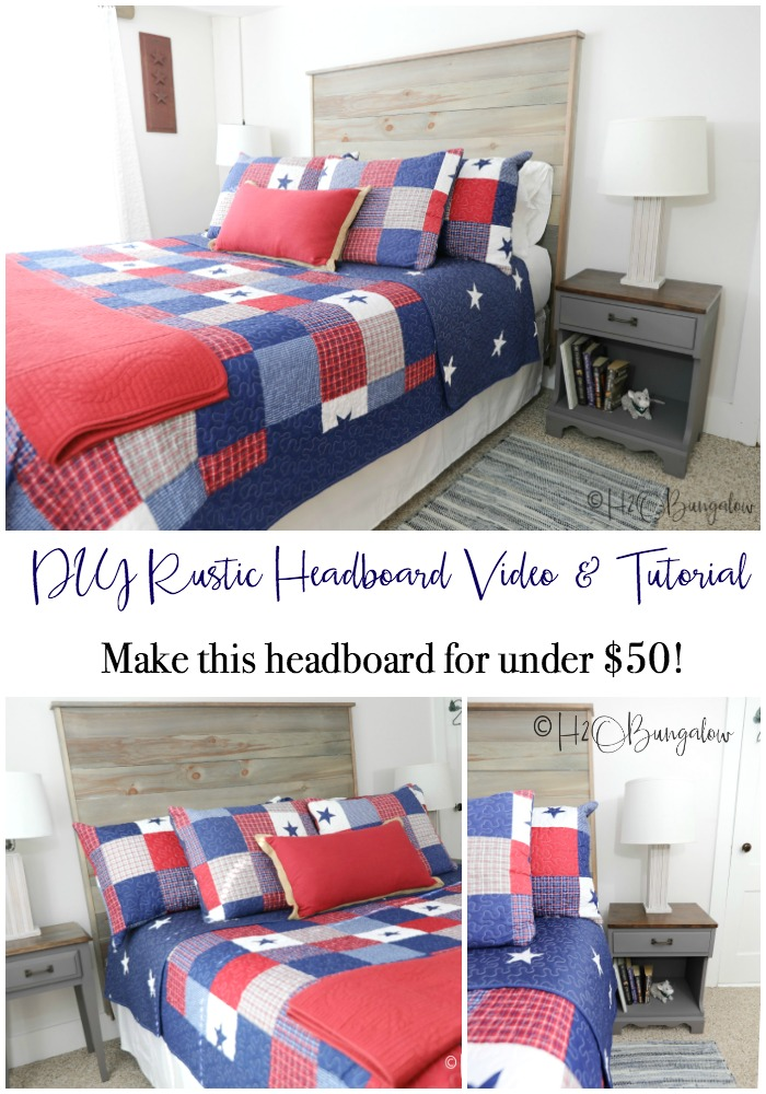 DIY rustic headboard tutorial with video to make a queen size wood headboard. Modify these plans for other bed sizes. Make a headboard for under $50 in a weekend!