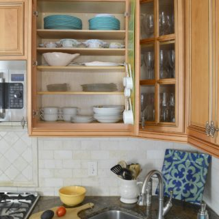How to add extra shelves to kitchen cabinets video tutorial covers material choices available and shelf arranging ideas to get the most space from your new kitchen cabinet shelves. #organizedkitchen #kitchenorganizing