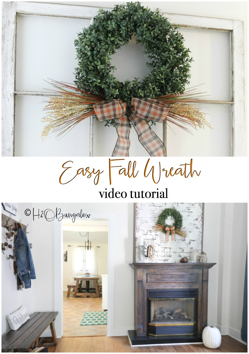 Make this easy fall boxwood wreath with my simple 5 minute video tutorial. Quick and pretty fall decor for a front door, mantel or wall.