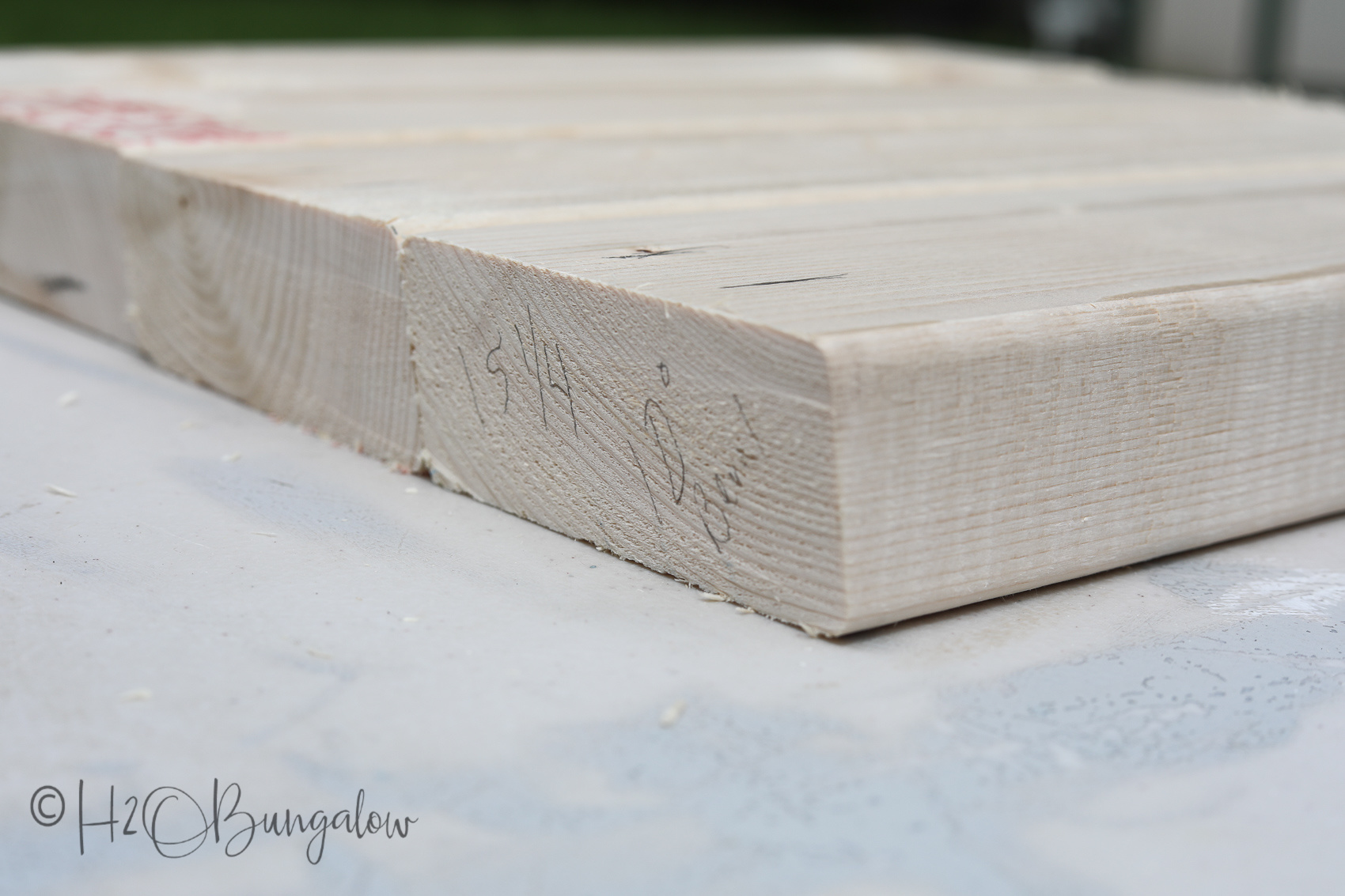Cutting wood, DIY modern rustic bench tutorial steps