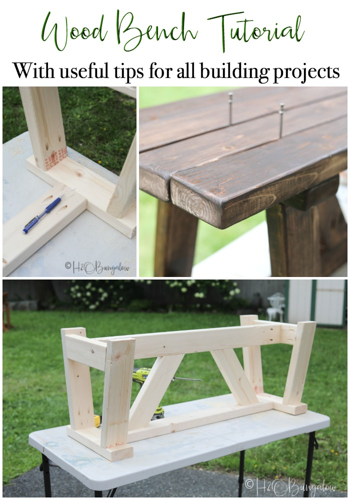 DIY rustic modern bench tutorial with extra woodworking tips for using plans to build a sturdy wood bench. Great bench design for contemporary or farmhouse.