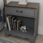 Try a stained top painted base furniture makeover on outdated furniture like this pair of nightstands. A two toned makeover gave them a contemporary and coordinated look in this rustic bedroom.