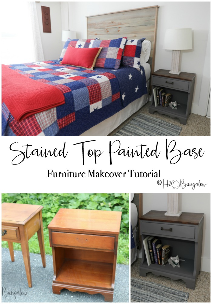 Try this stained top painted base furniture makeover on outdated furniture like this pair of nightstands. A two toned makeover gave them a contemporary and coordinated look in this rustic bedroom.