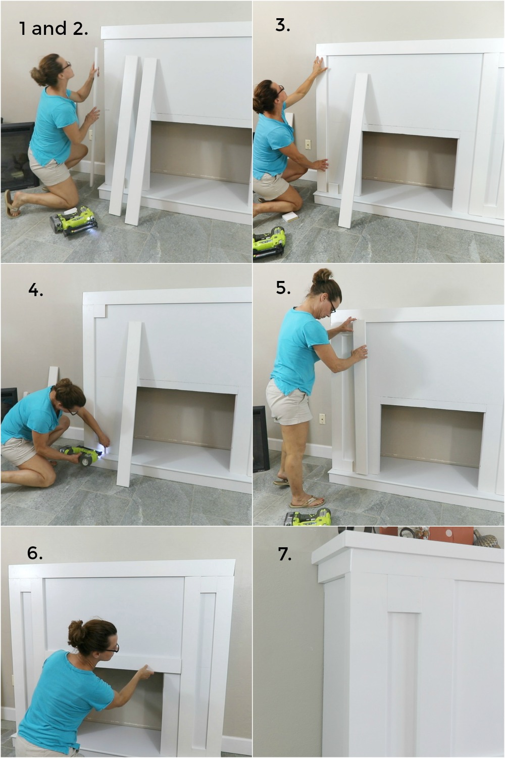 Adding craftsman style trim to DIY fireplace with electric insert collage of six