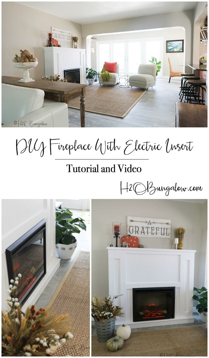 Beautiful living room with DIY fireplace with electric insert collage of three pin image.