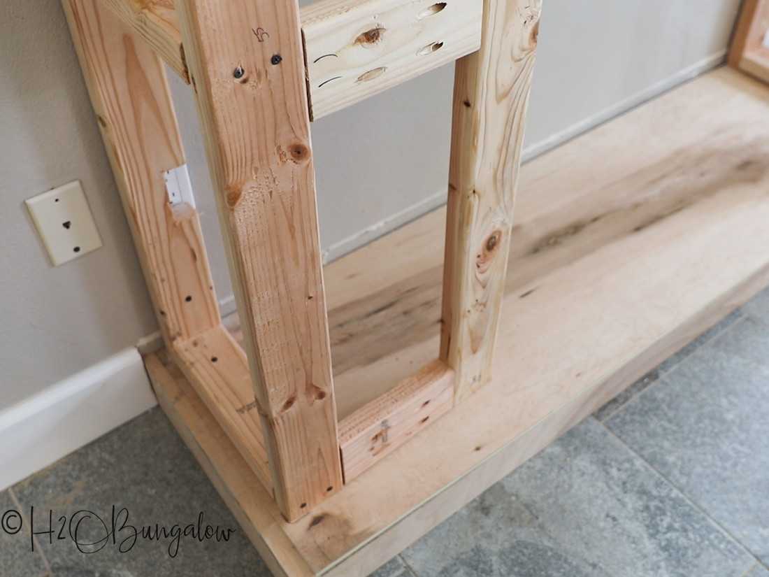 DIY fireplace frame with base
