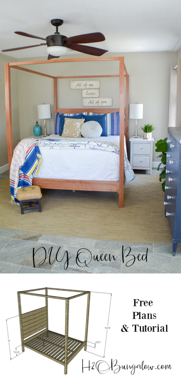 Build this gorgeous wood DIY queen bed frame with free plans, tips and tutorial. I share how to build a homemade bed frame that looks anything but homemade! #diybedframe #diybed #freeplans