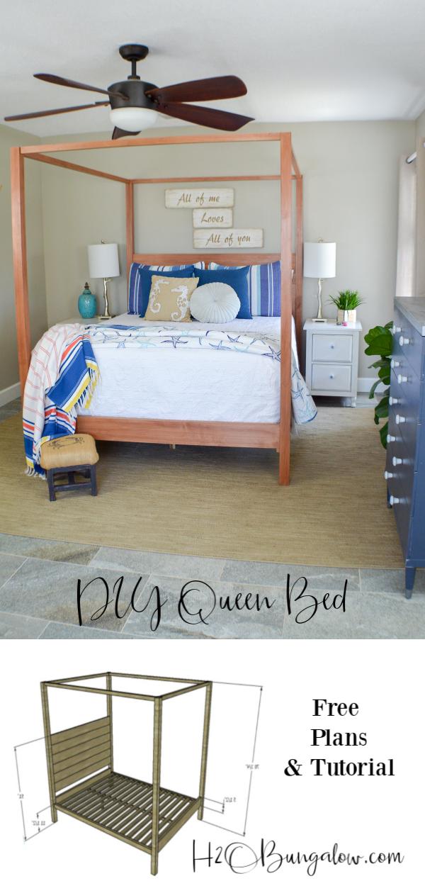 Diy Queen Bed Frame Plans Tutorial H2obungalow
